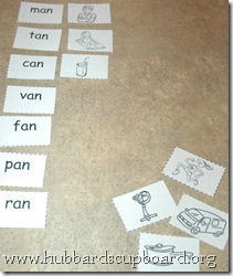 Word Family Word and Picture Sort