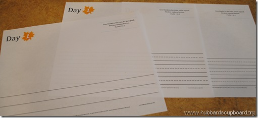 20 Days of Thanks sheets